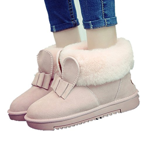 Fur Covered Rabbit Ears Shape Womens Snow Boots Fully Fur Lined ...