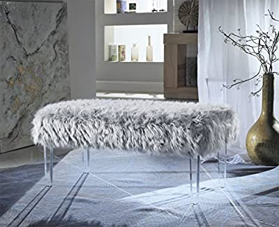 Iconic Home Diego Modern Contemporary Faux Fur Acrylic Leg Bench by Iconic Home