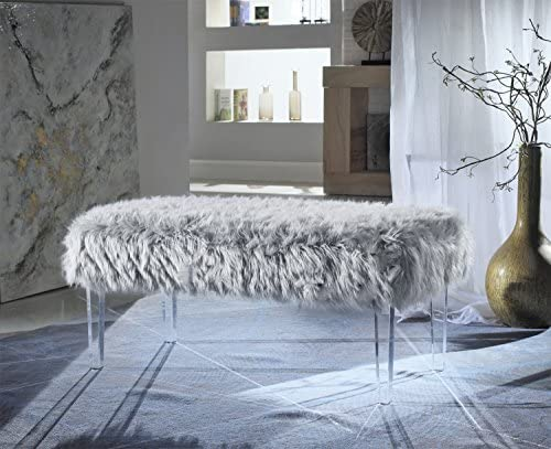 Iconic Home Diego Modern Contemporary Faux Fur Acrylic Leg Bench, Grey