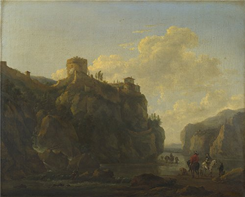 Oil Painting 'Lodewijck Van Ludick A River Between Rocky Cliffs ' Printing On Perfect Effect Canvas , 18 X 22 Inch / 46 X 57 Cm ,the Best Garage Decoration And Home Decor And Gifts Is This High Definition Art Decorative Prints On Canvas