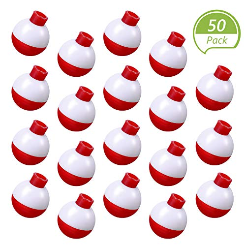 Syhood 50 Pieces 1 Inch Fishing Bobbers Float Red and White Float Bobbers Push Button Round Buoy Floats for Fishing Tackle Accessories