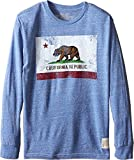 The Original Retro Brand Kids Boy's Long Sleeve Tri-Blend California Flag Tee (Big Kids) Streaky Royal X-Large