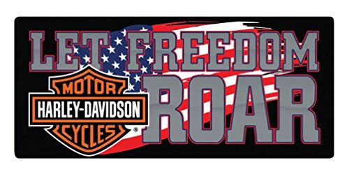 Harley-Davidson Freedom Roar B&S Embossed Tin Sign, 18 x 8 inches - Sign Tin Durable