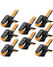 TOLESA 4-Inch Spring Clamps Powerful Force 8-Piece Nylon Clamp with Double Layer Handle for Gluing, Clamping and Securing
