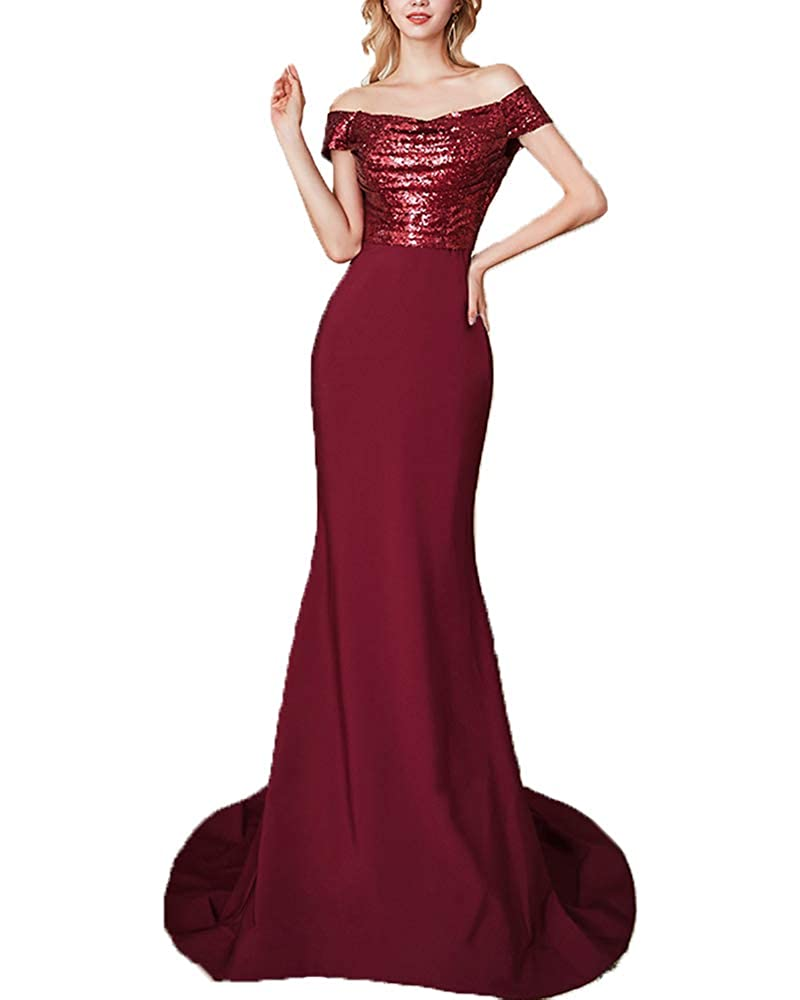 Burgundy SDRESS Off The Shoulder Sequin Mermaid Bridesmaid Dress Evening Gowns for Women Formal
