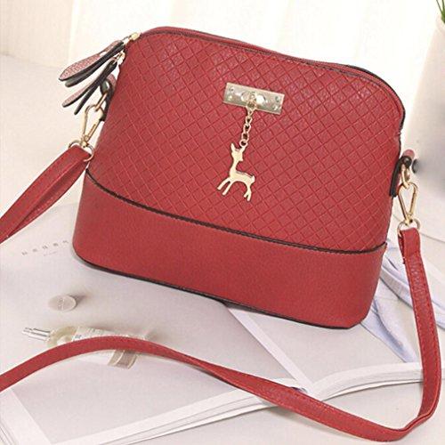 BYSTE Cervo Piccolo borsetta messaggero Nuovo Borse del Conchiglia Donna a tracolla Casuale Rosso Borse Pelle rqwgXrU