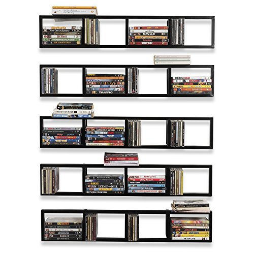 Wall Mount 34 Inch Media Storage Rack CD DVD Organizer Metal Floating Shelf Set of 5 Black Audio Rack Storage Set