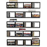 Wall Mount 34 Inch Media Storage Rack CD DVD Organizer Metal Floating Shelf Set of 5 Black