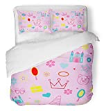 Emvency Bedsure Duvet Cover Set Closure Printed Flower Kids for the Girl with Crown Pyramid for Princess Castle Box Pink Mirror Toy Decorative Breathable Bedding Set With 2 Pillow Shams Twin Size