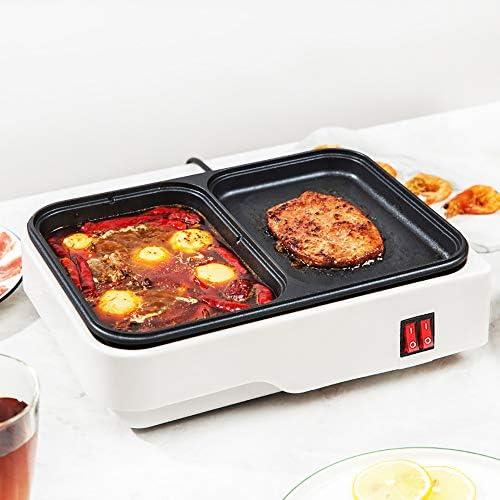 Whitejianpeak Grill électrique avec Hot Pot, Hot Pot Multifonctionnel antiadhésif 1000W avec poêle à Barbecue, Outil de Cuisson 2 en 1 pour Barbecue, Petit déjeuner