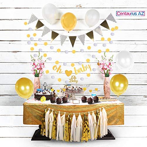 Baby Shower Decorations/Girl Baby Shower/Boy Baby Shower/Party Decorations/Gender/Neutral/Banner/Tassel/Gold Glitter/Paper Tissue Decorations -