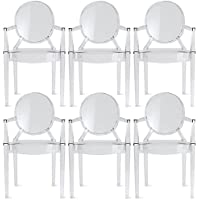 2xhome – Set of 6 Modern Designer Louis Ghost Armchairs With Polycarbonate Crystal Clear Transparent Plastic
