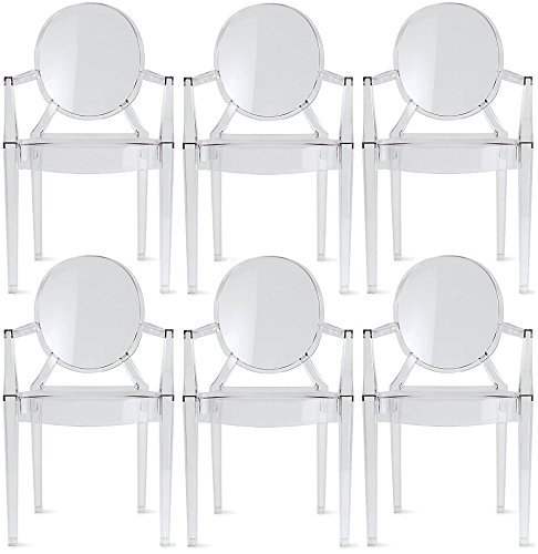 (2xhome Set of 6 Modern Glam Designer Louis Ghost Armchairs with Back Arms No Wheels Polycarbonate Crystal Clear Transparent Plastic Acrylic Office Dining Chairs Work Desk Guest Task Hotel)