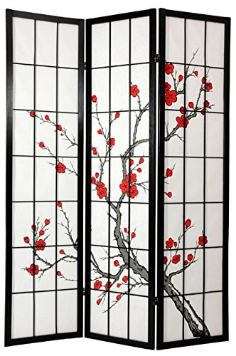 Cherry Blossom Shoji Screen, Spruce Wood and Rice Paper Construction, Oriental, Japanese Style, 3 Panels, Handmade and Decorative, 71 Inches High x 52.5 Inches Wide, Age-Old Techniques, Multi Color - Shoji Screen China