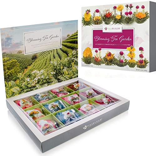 Teabloom Flowering Tea Chest - Finest Quality Blooming Tea Collection From The World's Most Beautiful Gardens - 12 Best-Selling Varieties of Flowering Teas Packaged in Beautiful Gift-Ready Tea Box (Best Selling Teavana Tea)