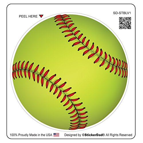 (StickerDad Softball V1 Vinyl Decal Full Color Printed - (Size: 4