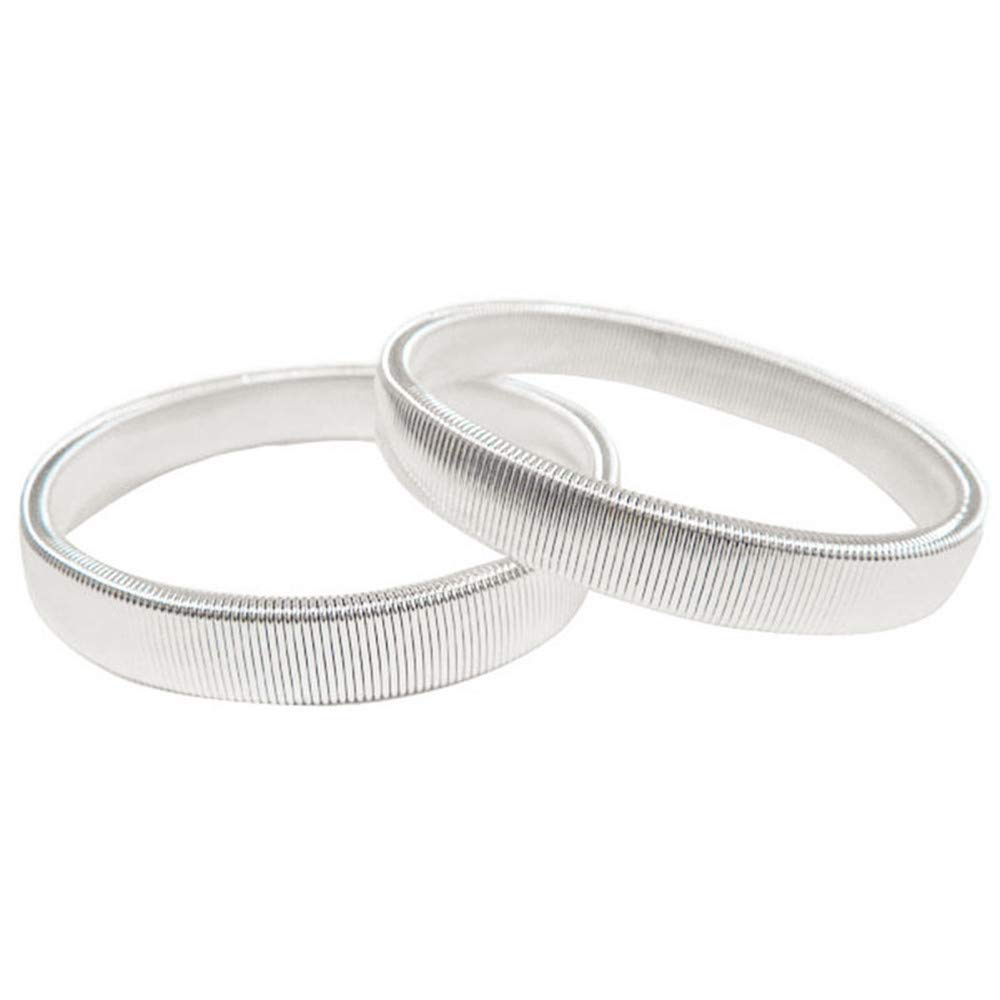 Anti Slip Armbands Elastic Shirt Sleeve Holders Metal for Band Stretch Garters (Silver - 2 Pcs)