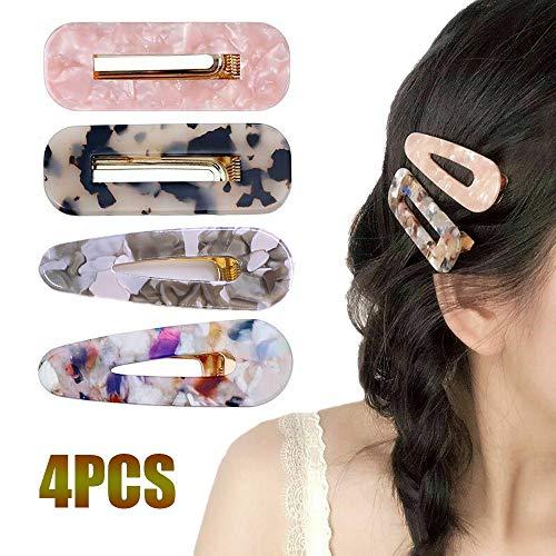 4 Pcs Acrylic Resin Hair Barrettes Fashion Geometric Alligator Hair Clips for Women and Girls Hair Accessories