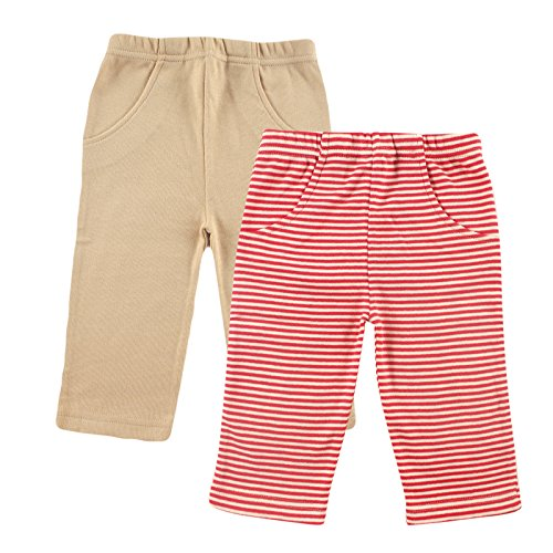 Touched by Nature Baby Organic Striped Pants 2 Pack, Red/Beige, 9-12 Months