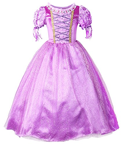 JerrisApparel New Princess Rapunzel Party Dress Costume (6, Purple) (Cinderella Costume For Kids)
