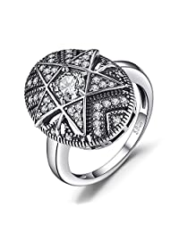 JewelryPalace Star 1.0ct Cubic Zirconia Filigree Ring 925 Sterling Silver