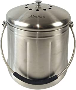Abakoo Compost Bin 304 Stainless Steel Kitchen Composter Waste Pail Indoor Countertop Kitchen Recycling Bin Pail - Includes 2 Charcoal Filters Clean & Odor Free (1.8 Gallon)