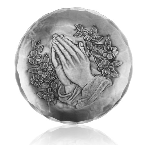 Wendell August Forge Coaster, Praying Hands, Hand-hammered Aluminum, Keeps Tabletops Safe, 4.5 Inch Round Coaster ()