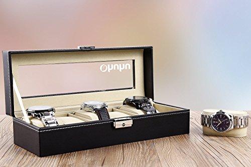 Ohuhu Watch Organizer, 6 Slot Watch Box PU Leather Watches Storage Case Lock Key by Ohuhu (Image #6)