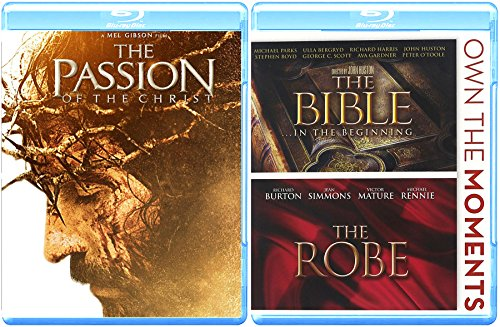 Films Jesus & Bible Triple Feature The Passion of Christ Blu Ray + The Robe & The Bible in the Beginning