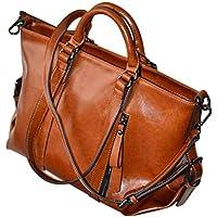 SODIAL Women Oiled Leather Tote Handbag Purse Lady Messenger Shoulder Bag Satchel Brown