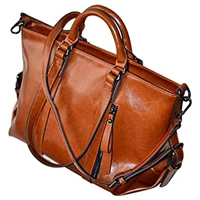 SODIAL Women Oiled Leather Tote Handbag Purse Lady Messenger Shoulder Bag Satchel Brown