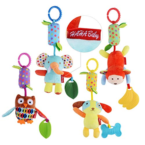 HAHA Baby Toys Soft Hanging Rattle Crinkle Squeaky Toy Infant Newborn Stroller Car Seat Crib Travel Activity Plush Animal Wind Chime with Teether for Boys Girls