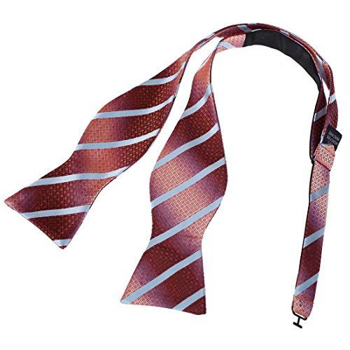- Dan Smith DBA7A06B Red Evening Lawyers Stripes Self-tied Bowtie Excellent Fabric Microfiber British Polyster Self Tie Bow Tie