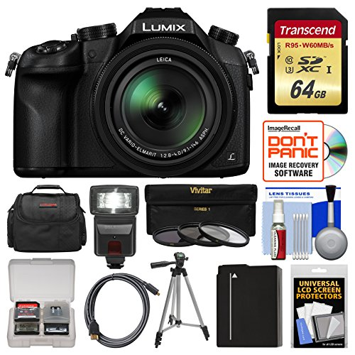 (Panasonic Lumix DMC-FZ1000 4K QFHD Wi-Fi Digital Camera with 64GB Card + Case + Flash + Battery + Tripod + 3 Filters Kit)