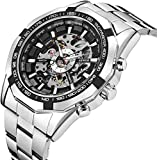 Watch, Men's Watch Mechanical Stainless Steel Automatic Skeleton Dial Fashion Analog Display Punk
