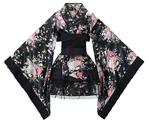 Sheface Women's Cosplay Lolita Fancy Dress Japanese Kimono Anime Costumes (Large, P03 Black) -