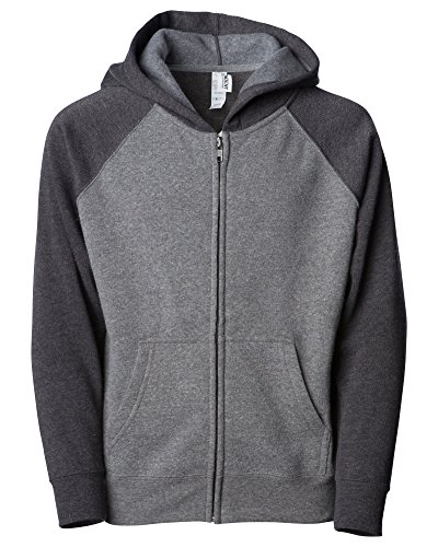 (Global Blank Medium Grey Lightweight Fleece Raglan Sleeve Hooded Sweatshirt for Girls Boys)