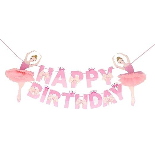 Amosfun banner de cumpleaños feliz cumpleaños bailarina ...