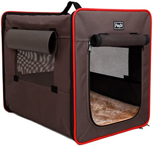 Petsfit Sturdy Wire Frame Soft Pet Crate, Collapsible for Travel