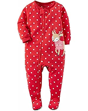 Girls Red Christmas Reindeer Sleeper