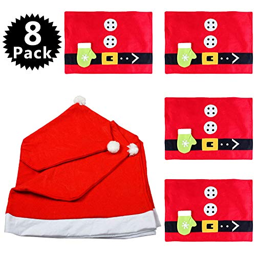 - Yarssir 8 Pack Xmas Dinner Tableware Decorations Set - 4PCS Santa Hat Kitchen Chair Covers, 4PCS Placemats - Christmas Eve Family Dinner Holiday Festival Decor