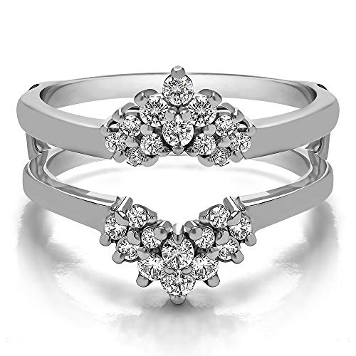 TwoBirch 0.53 Ct. Double Row Round Prong Set Ring Guard in Sterling Silver with Brilliant Moissanite (Size 10) (Round Moissanite Double Prong)