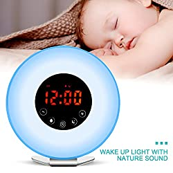 Wake Up Light Alarm Clock by Homitem, Digital Sunrise Simulation Alarm Clock -【2018 Upgraded】-with 6 Alarm Sounds,FM Radio,7 Color Lights ,Sunrise&Sunset Simulation and USB Charger