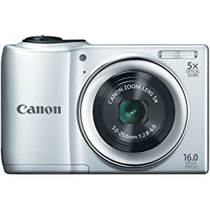 Canon PowerShot A810 16.0 MP Digital Camera with 5x Digital Image Stabilized Zoom 28mm Wide-Angle Lens with 720p HD Video Recording (Silver) (OLD MODEL)