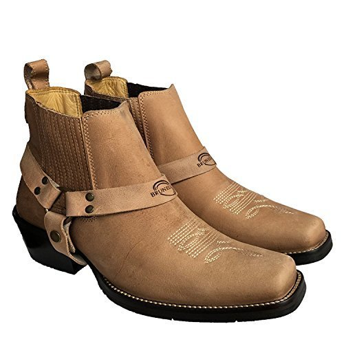 Brunello's Men's Genuine Leather Square Toe Western Boot- Low Cut In Beige Napa Rio by Taben Western Products Inc