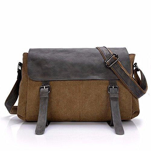 DIUDIU Herren Tasche Canvas Bag Schulter ist retro diagonal Britischen Messenger Bag Querschnitt fashion Casual men Rucksack brown