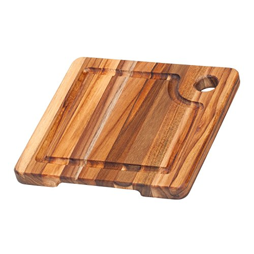 Cutting Square Hole - Teak Cutting Board - Square Board With Corner Hole And Juice Canal (8 x 8 x .75 in.) - By Teakhaus