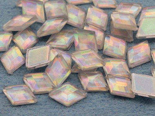 - 10x7mm Crystal AB Foil Flat Back Diamond Acrylic Jewels Pro Grade - 100 Pieces