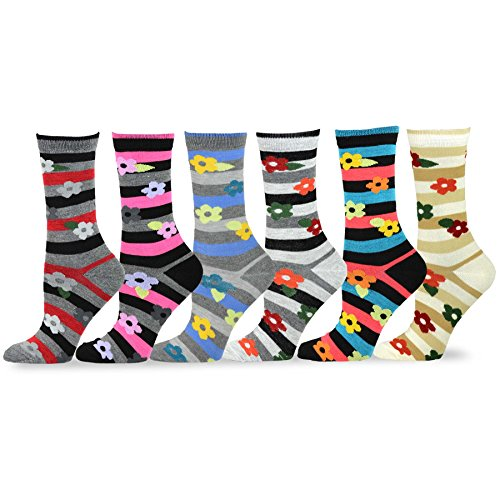 TeeHee Women's Ladies Value 6-Pack Crew Socks (Stripe with Flower) ()