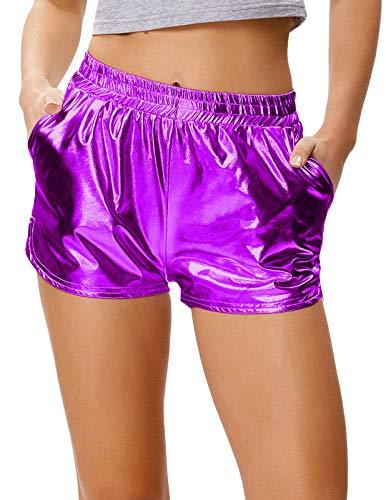 Women's Yoga Hot Shorts Shiny Metallic Pants Elastic Waist Purple, Size - Boot Rave